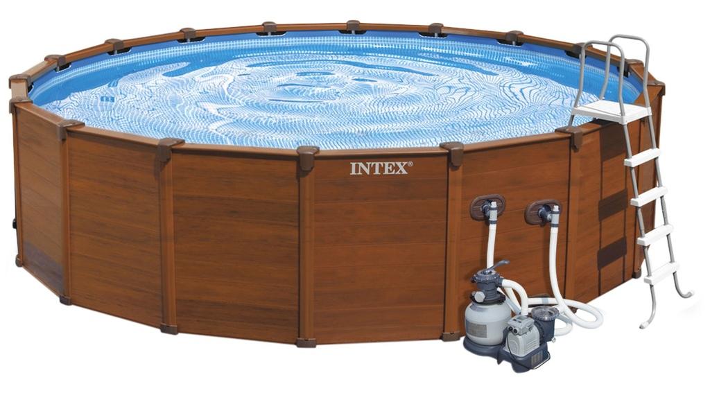 Piscina Intex Sequoia Spirit misura 478 x 124cm con Pompa Filtro a sabbia Intex 28382 modello 2016 colore legno