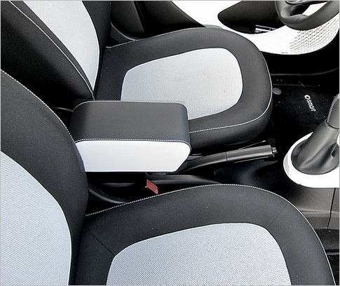 Armrest with storage for Smart ForTwo - ForFour New BICOLOR: black Eco leather with white sides