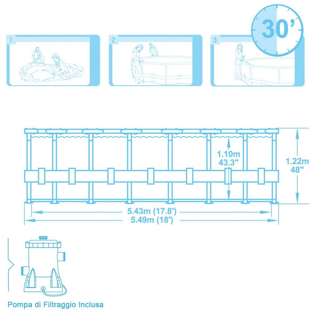 Piscina Bestway Steel Pro Frame circolare BESTWAY 56113 Diam 549 x 122 con pompa cartuccia