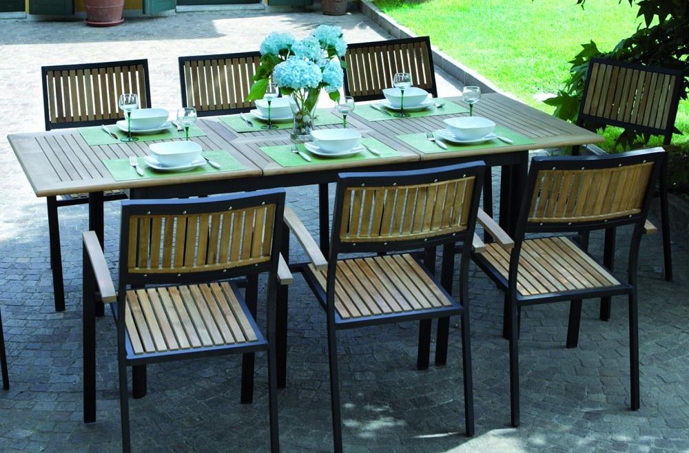 Tavolo allungabile in alluminio VIGO nero con piano in legno teak 150/210 x 90  code RTT62