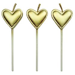 Set 8 candeline cuore dorato
