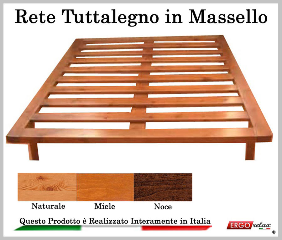 Rete in Legno Mod. Tuttalegno Massello 140X190/195/200 100% Made in Italy