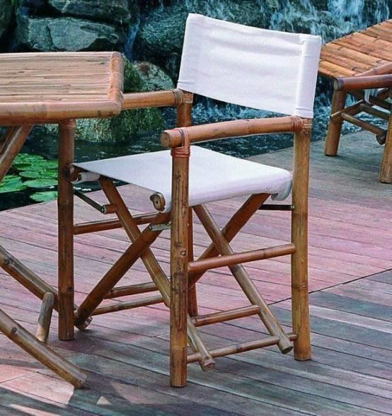 Sedia da giardino robusta GIULIO regista bambù e cotone CHB 02