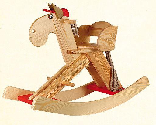 """Cavallo a Dondolo in Legno Naturale """"OLIVER"""" di Janoschik"""