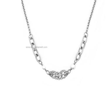 ST3998 Girocollo Donna in Acciaio e Perle Thiago gioielli