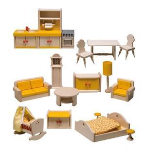 Set di Mobili per Casa delle Bambole in Legno con Balcone di Rulke Holzspielzeug