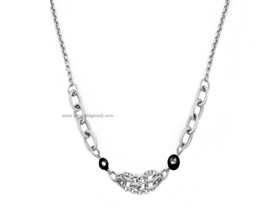 ST3996 Girocollo Donna in Acciaio e Perle Nere Thiago gioielli