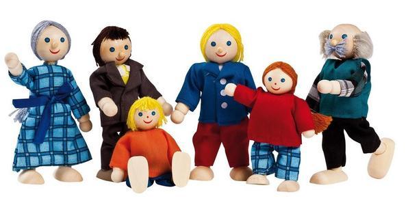 """Personaggi """"Famiglia"""" Snodabili in Legno e Stoffa per Casa delle Bambole di Goki"""