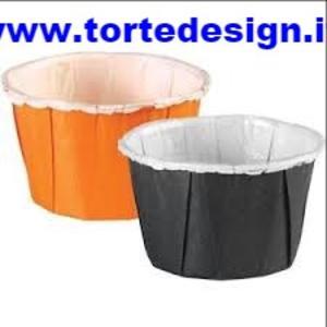 Conf. 24 piccole coppette di carta arancio e nere Wilton