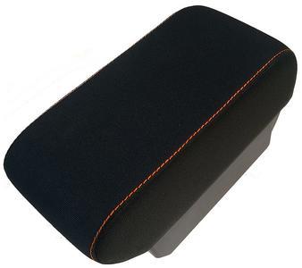 Bracciolo con portaoggetti per Smart ForTwo C453 - ForFour W453 in tessuto nero + cuciture arancioni