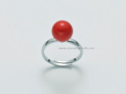 Lid2995 Anello con sfera color Corallo Rosso Miluna