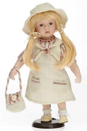 Bambola da Collezione in Porcellana con Lunghe Trecce e Borsetta RF Collection Qualità Made in Germany