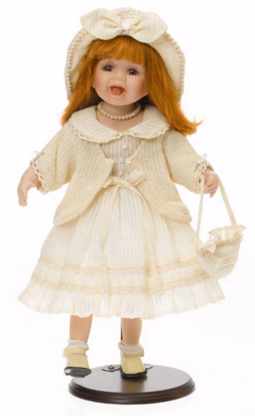 Bambola da Collezione in Porcellana con Sorriso Gilet e Borsetta RF Collection Qualità Made in Germany