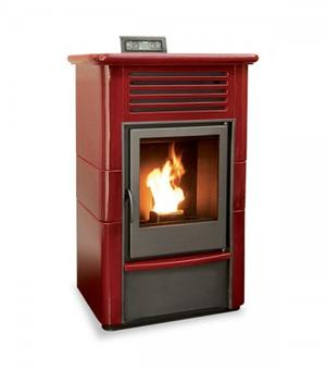 Stufa a Pellet PALLADIO SVIZZERA colore Bordeaux 13 kW 220 mc SVIZZERA Bordeaux