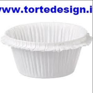 Set 30 pirottini increspati bianchi in carta da forno cm 5