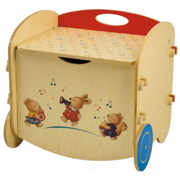 Pouf porta giochi in legno naturale decorato per bambini for Mobili portagiochi per bambini
