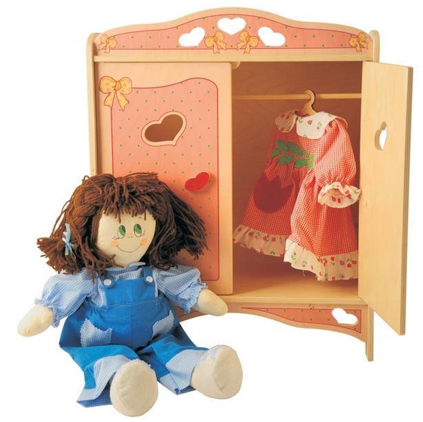 Armadietto Rosa per Bambole in Legno Naturale Decorato per Bambini di Dida