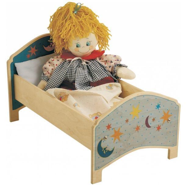 Lettino Luna per Bambole in Legno Naturale Decorato per Bambini di Dida
