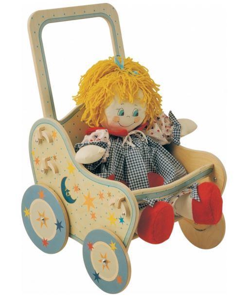 Passeggino Luna per Bambole in Legno Naturale Decorato per Bambini di Dida