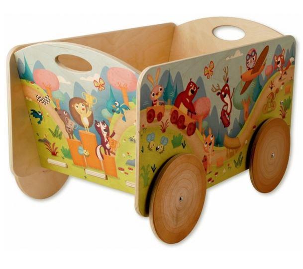 """Porta Giochi """"La Gara degli Animaletti"""" per Bambini in Legno Naturale di Dida"""