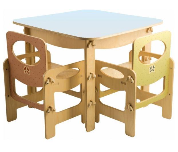 Tavolo Quadrato Colori Pastello per Bambini in Legno Naturale di Dida