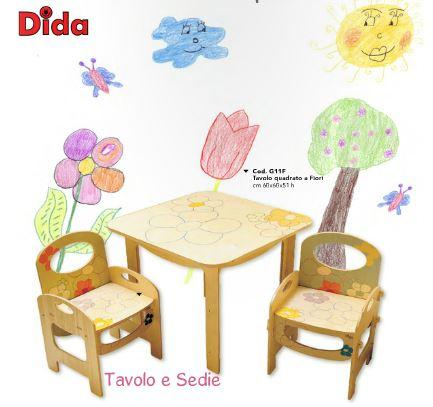 Sedia a fiori per bambini in legno naturale decorato di dida for Tavolino e sedia montessori