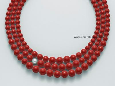 PCL4668 Girocollo con Corallo Rosso e Perla Miluna -