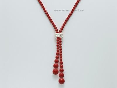 CLD3658 Collana Miluna color Corallo Rosso e Perle