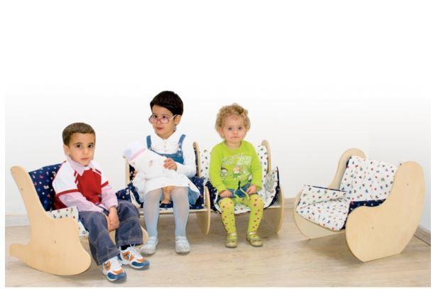 Divanetto per Bambini in Legno Naturale e Rivestito di Dida