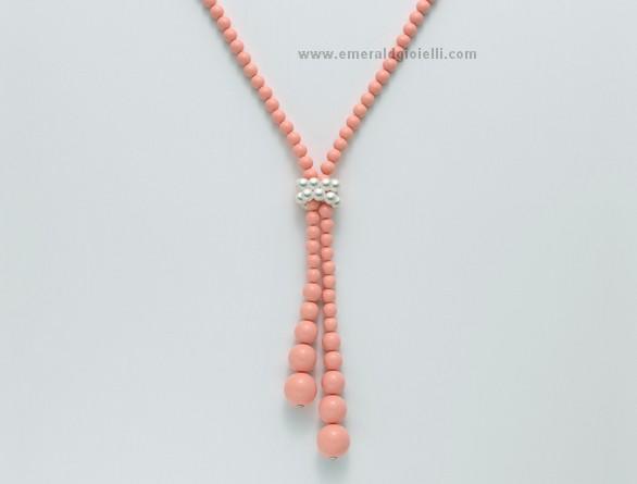 CLD3657 Collana Miluna color Corallo Rosa e Perle -