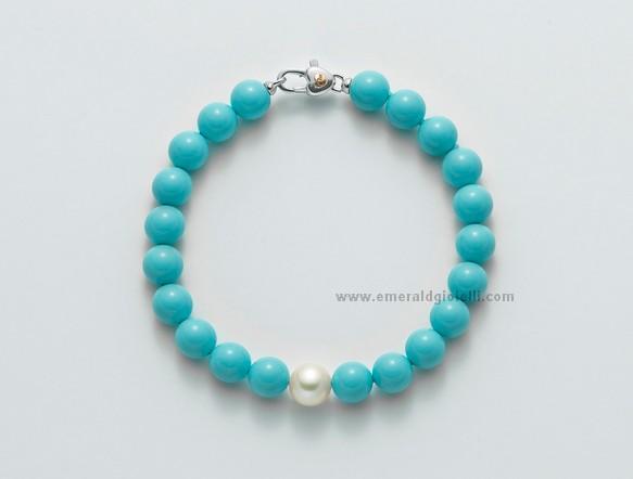 PBR1794V Bracciale con Turchese e perla Miluna