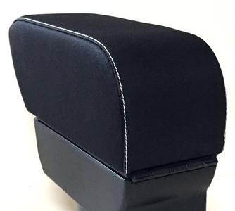 Bracciolo con portaoggetti per Smart ForTwo C453 - ForFour W453 in tessuto nero + cuciture bianche