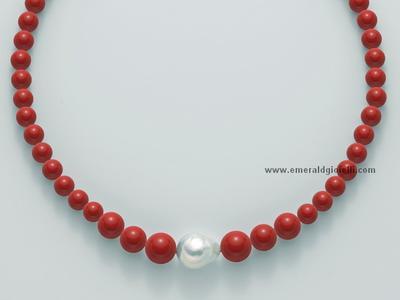 PCL4657 Girocollo Miluna con Corallo Rosso e Perla