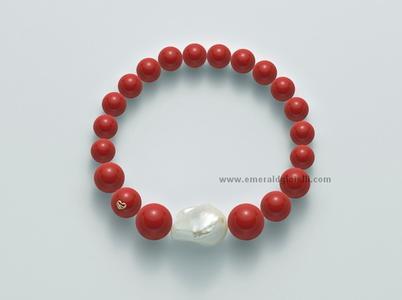 PBR1962 Bracciale Color Corallo Rosso e perla Miluna -