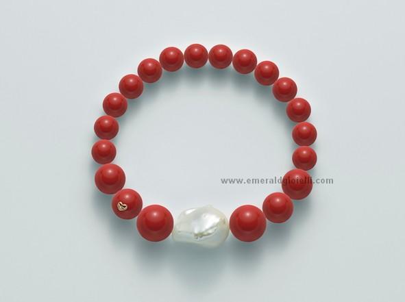 PBR1962 Bracciale con Corallo Rosso e perla Miluna -