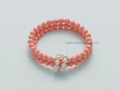 pbr2218 Bracciale di Corallo Rosa e Perle Miluna -