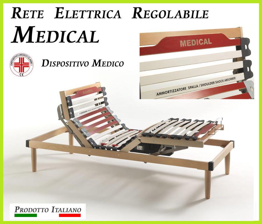 Rete Elettrica Regolabile Medical a Doghe di Legno Matrimoniale da Cm. 160x190/195/200 Presidio Medico con Batteria di Emergenza Prodotto Italiano