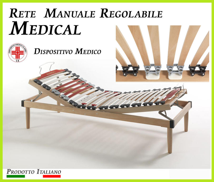 Rete Manuale Regolabile Medical a Doghe di Legno Matrimoniale da Cm. 160x190/195/200 Presidio Medico Prodotto Italiano