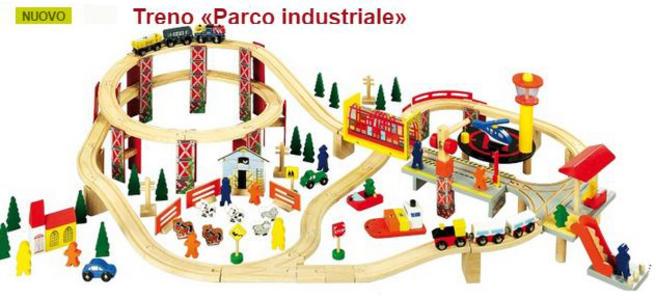 """Treno """"Parco Industriale """" in Legno Naturale per Costruzioni per Bambini di Legler"""