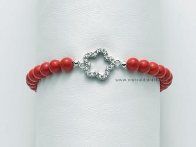 BR664 Bracciale di Corallo Rosso e Argento Miluna