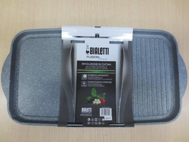 BIALETTI Bistecchiera Piastra doppia liscia rigata DONATELLO PETRAVERA 50 X 26 cm 2 manici new model NATURAL STONE Pietra Granitium Stone