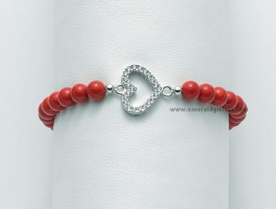 BR667 Bracciale di Corallo Rosso e Argento Miluna