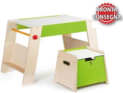 Tavolino Multifunzione Gioco Disegno con Sgabello in Legno Hape - Offerta