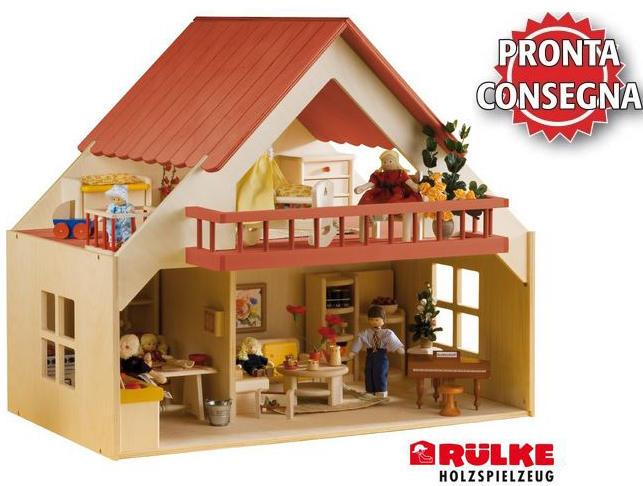 Casa delle Bambole in Legno con Balcone  di Rulke Holzspielzeug