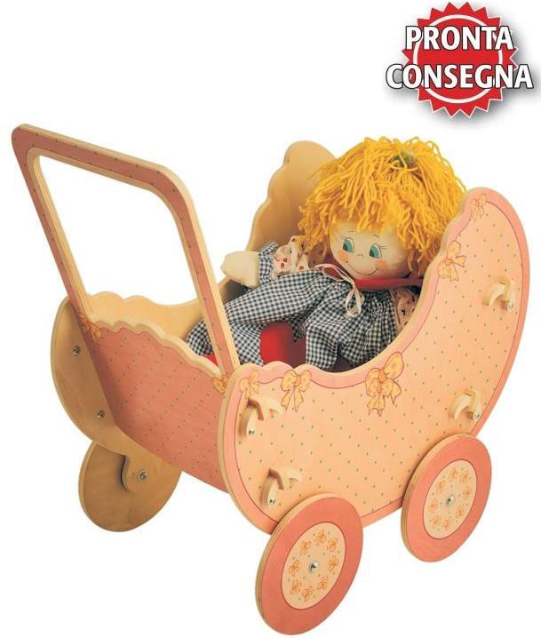 Carrozzina Rosa per Bambole in Legno Naturale per Bambini di Dida