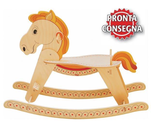 Cavallo a Dondolo per Bambini in Legno Naturale di Dida