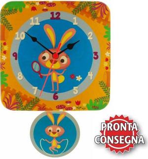 Orologio da Parete a Pendolo in Legno Naturale per Bambini Vari Soggetti di Dida