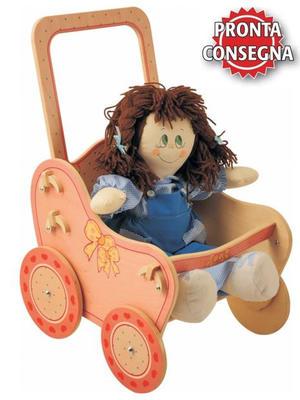 Passeggino Rosa per Bambole in Legno Naturale Decorato per Bambini di Dida