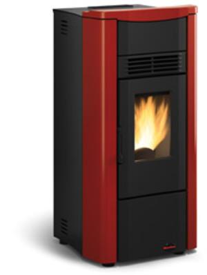 Stufa a pellet La Nordica Extraflame GIUSY 7 kw laterali in acciaio inox e top maiolica color Bordeaux 1280500