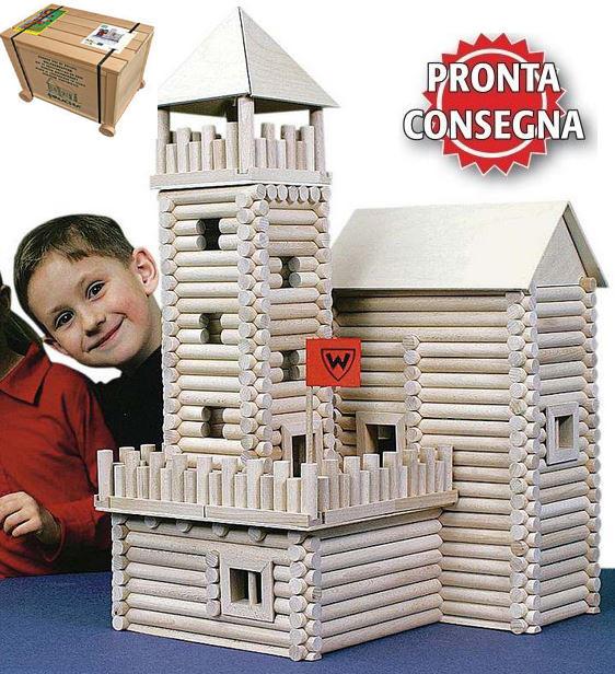Costruzioni in Legno Naturale per Bambini Kit da 450 pezzi Walachia - Offerta